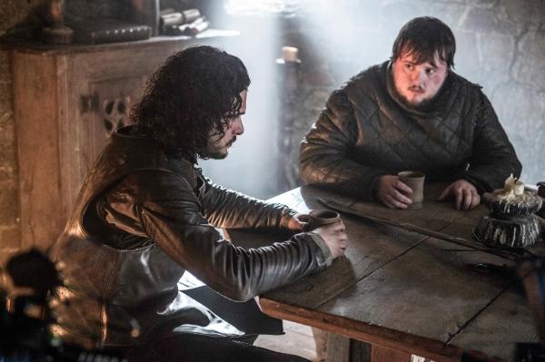 Kit Harington as Jon Snow, John Bradley as Samwell Tarly
